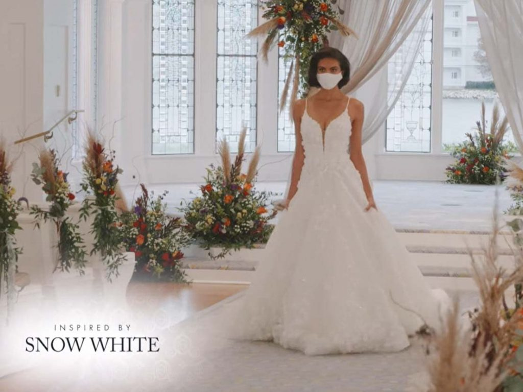 Woman wearing wedding gown inspired by Snow White