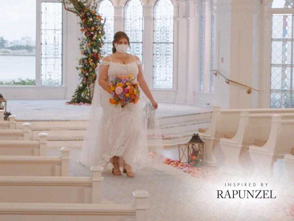 Woman wearing wedding gown inspired by Rapunzel