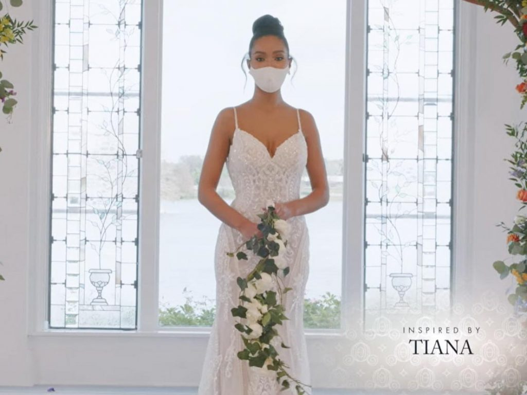 Woman wearing wedding gown inspired by Tiana