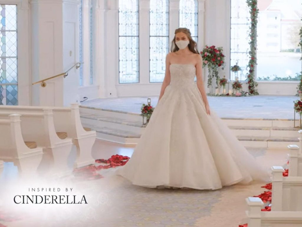 Woman wearing wedding gown inspired by Cinderella