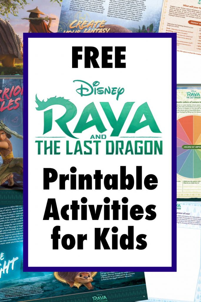 "Collage with text overlay ""Free Raya and the last dragon printable activities for kids"""