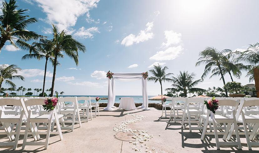 Ama Ama Patio set up for a wedding ceremony