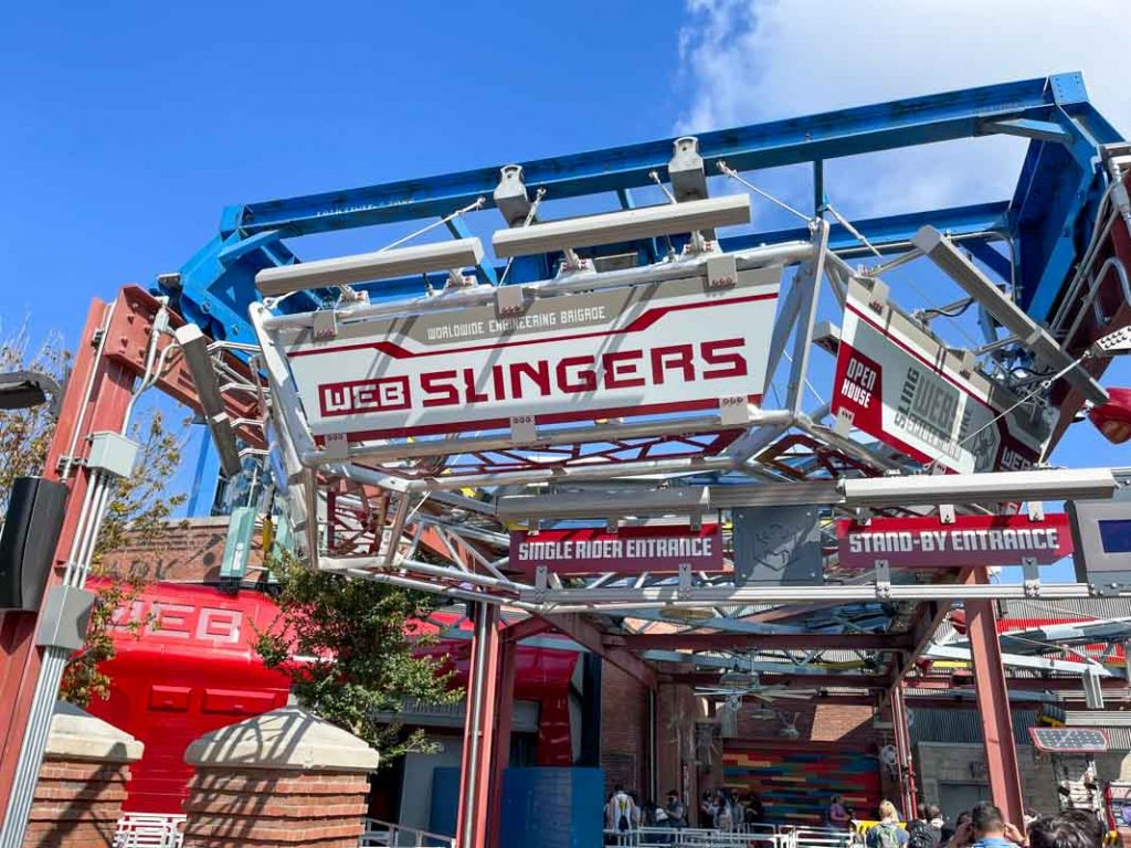 Entrance sign for Web Slingers attraction at Avengers Campus