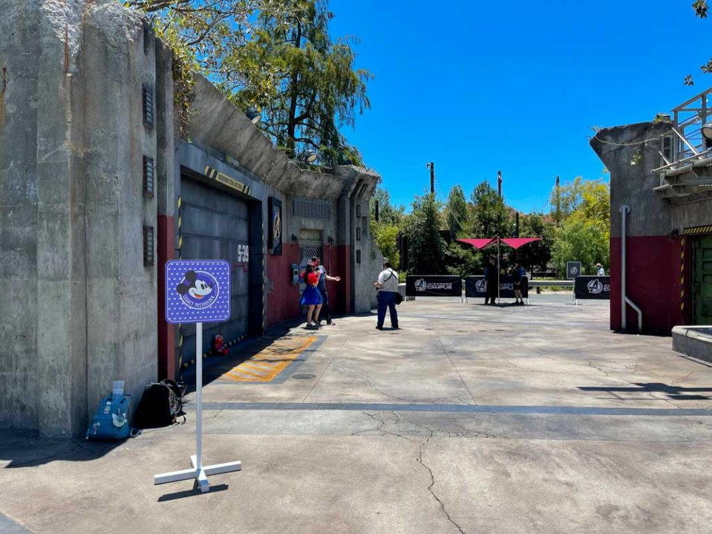 Concrete walkway between Avengers Campus and Cars Land at Disney California Adventure