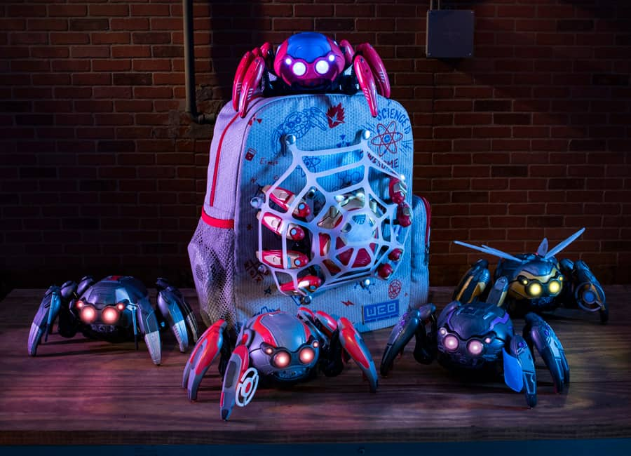 4 spider bot toys and matching backpack