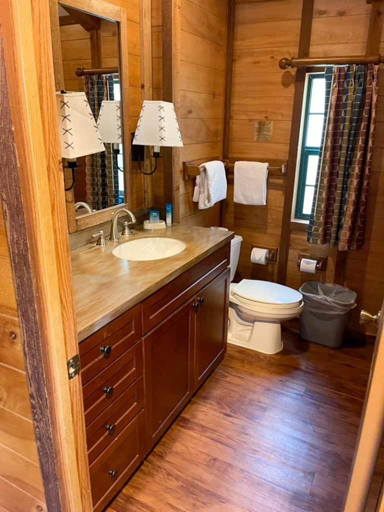 Sink and countertop in bathroom at Fort Wilderness Cabin