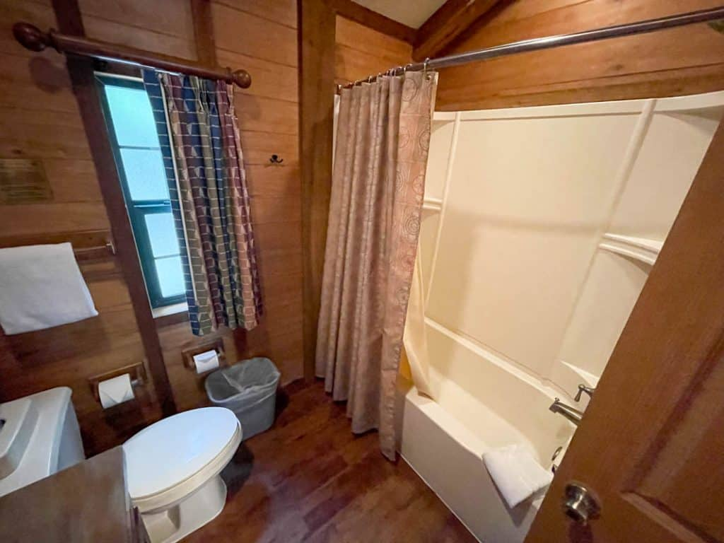 Bathtub and shower area of Fort Wilderness Cabin