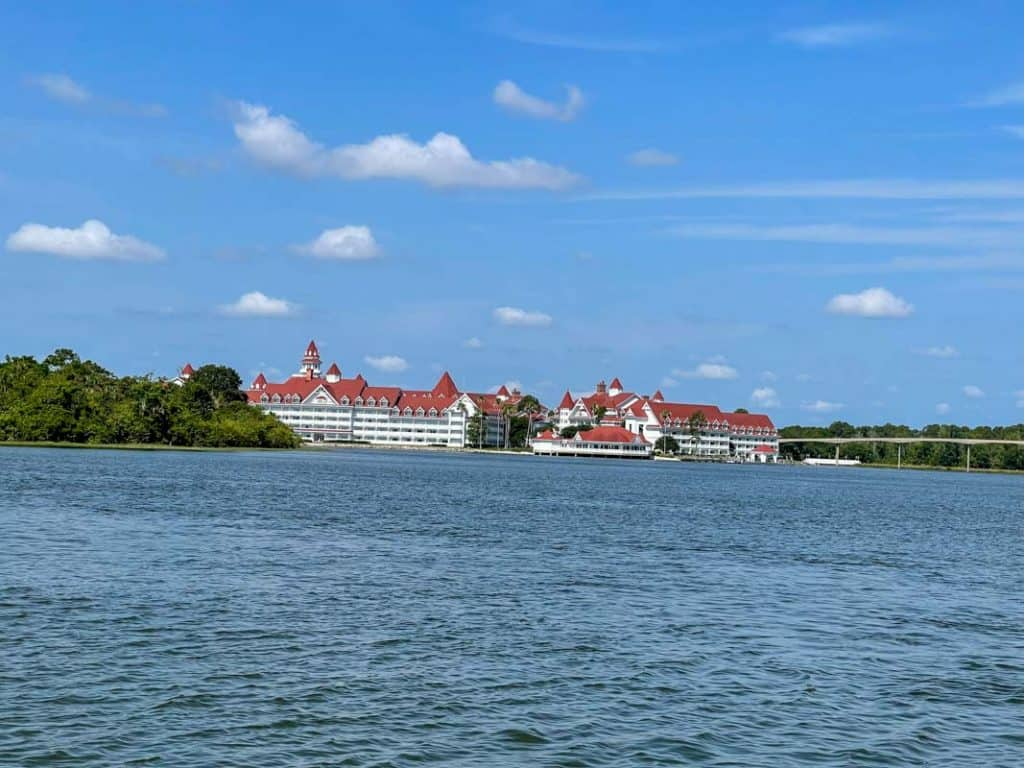 view of Disney's Grand Floridian from the ferry