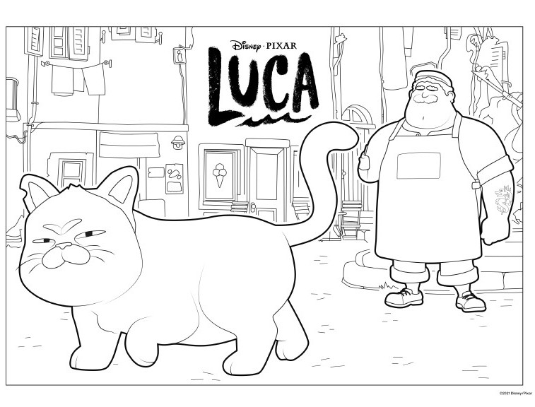LUCA coloring page featuring a cat