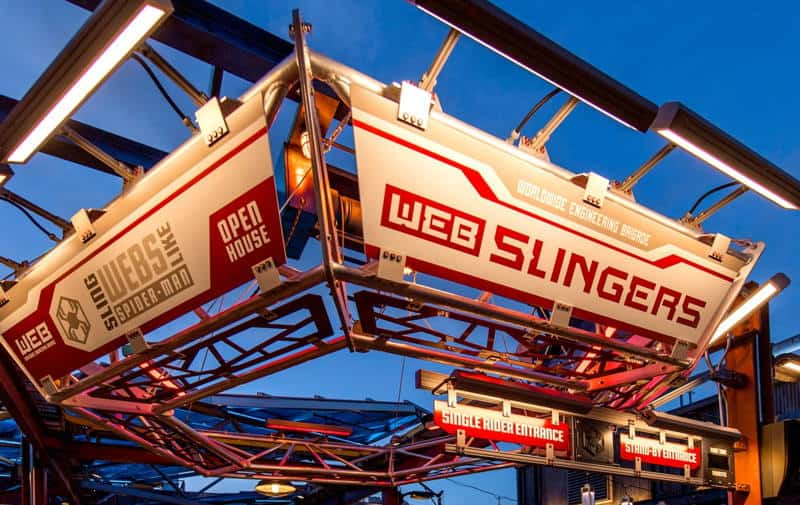 Entrance to WEB SLINGERS attraction at Disney California Adventure