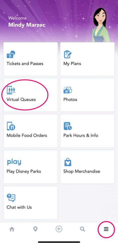 "Screenshot of main screen on Disneyland app with ""virtual queues"" circled"