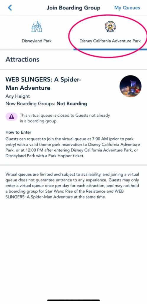 Screenshot of virtual queue screen on the Disneyland app