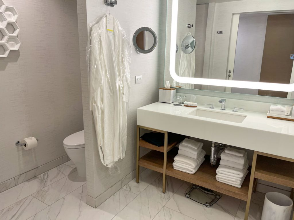 Interior of Westin Anaheim hotel room bathroom with sink and toilet