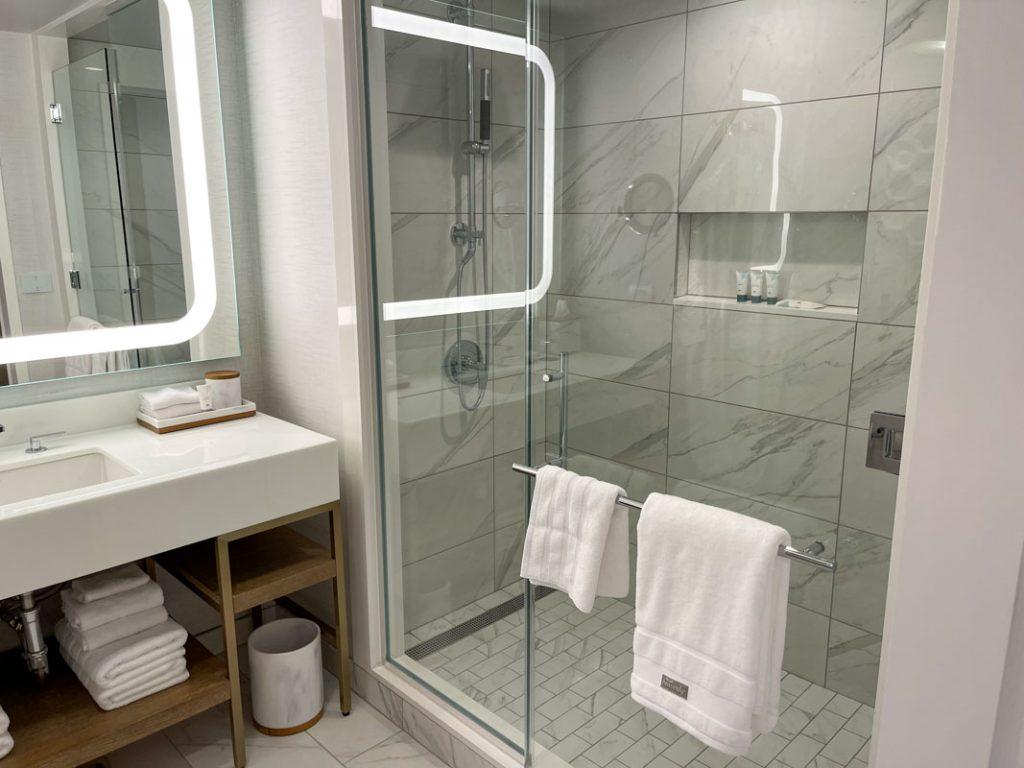 Interior of Westin Anaheim hotel room bathroom with shower