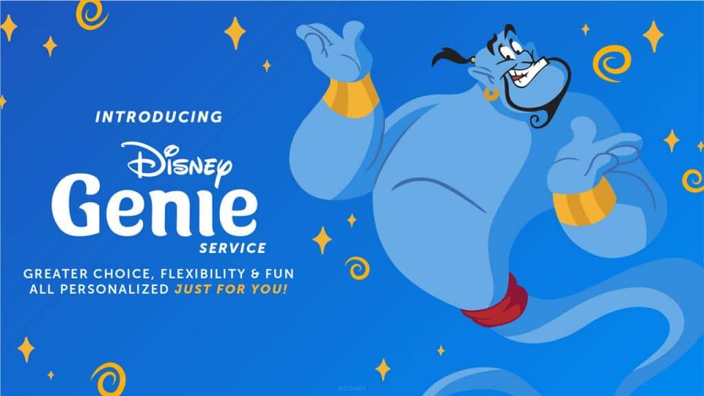 "Cartoon image of blue genie with text overlay ""Introducing Disney Genie"""