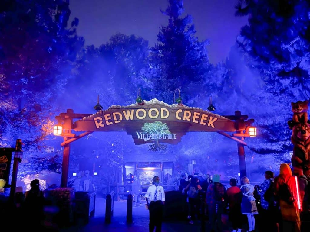 Entrance to Redwood Creek at night during Oogie Boogie Bash