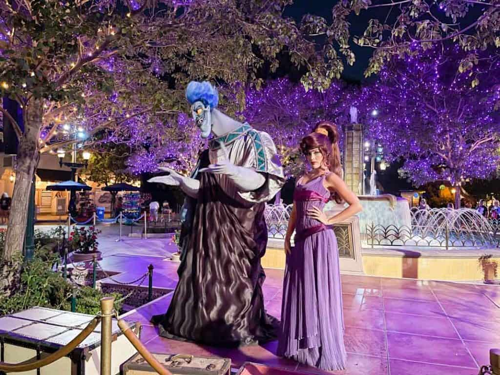 Hades and Megara costumed characters at Oogie Boogie Bash