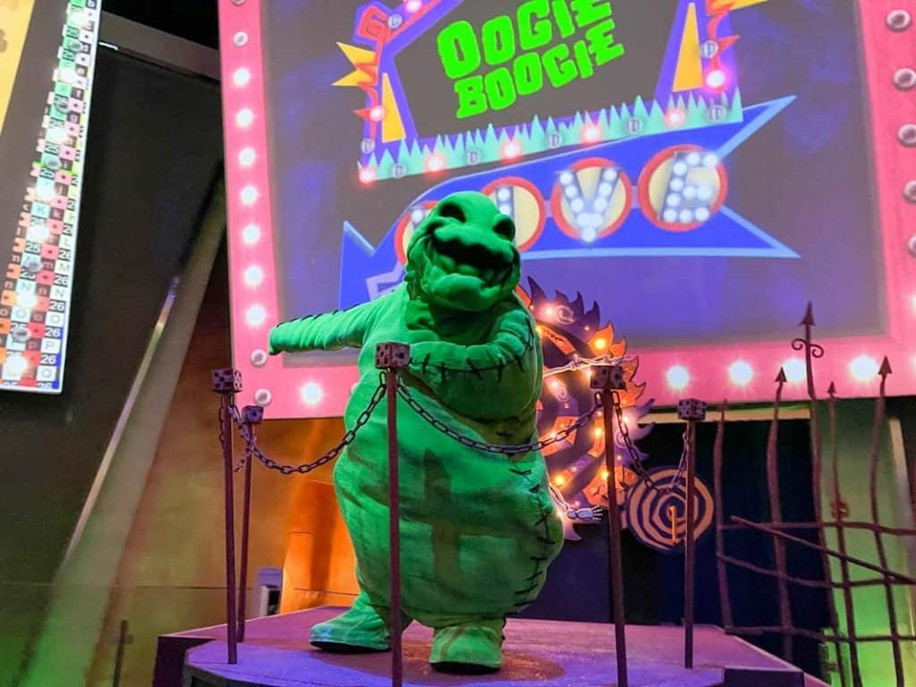 Oogie Boogie costumed character from Nightmare Before Christmas movie at Disneyland Resort